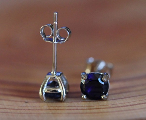 Genuine Blue Sapphire Stud Earrings In Solid Sterling Silver