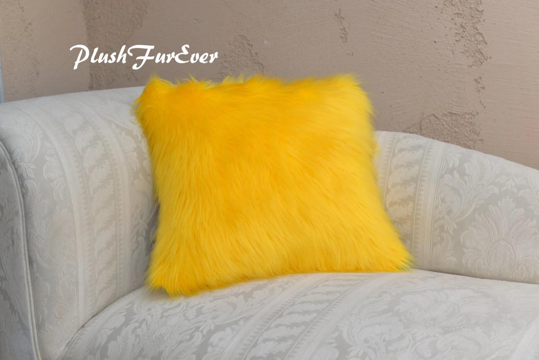Yellow Shaggy Cushion Pillow Faux Fur Home Decor Pillows