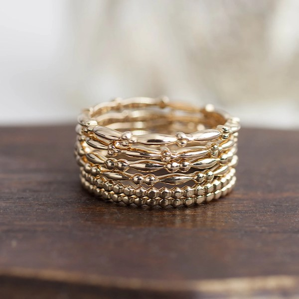 14k Solid Gold Stack Ring Stackable Band Bead