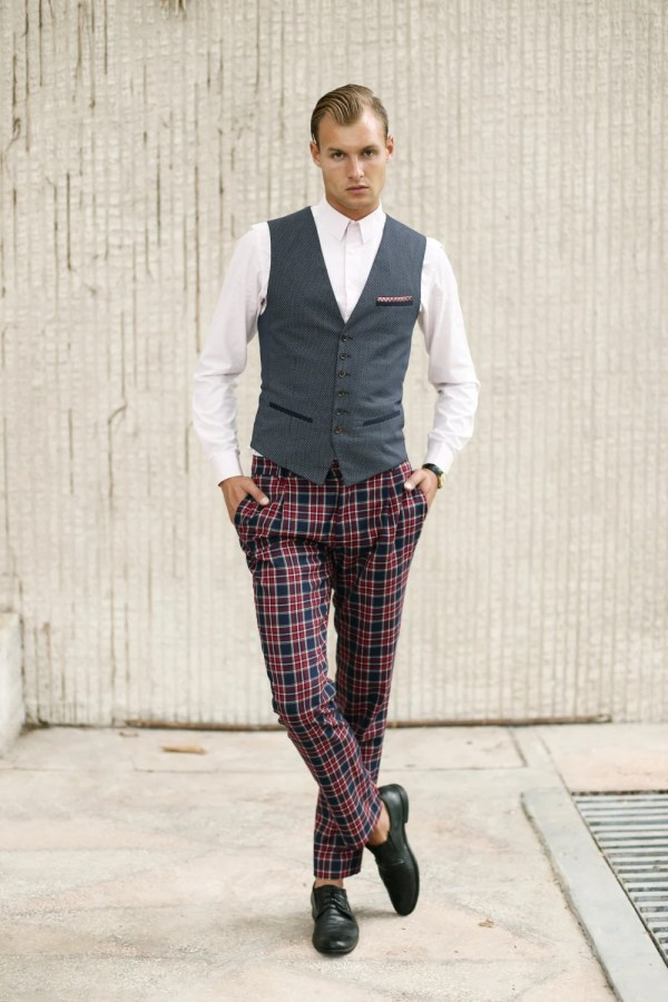 Mens Checkered Wool Pants Tailored Trousers