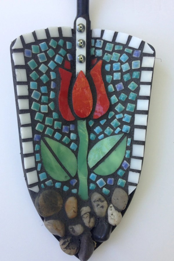 Handmade Stained Glass Mosaic Garden Trowel With Tulip Pattern