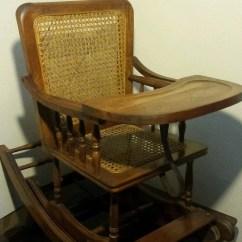 Vintage Wicker Rocking Chair Minimal Height Stand Test Antique Childs Oak High Rocker