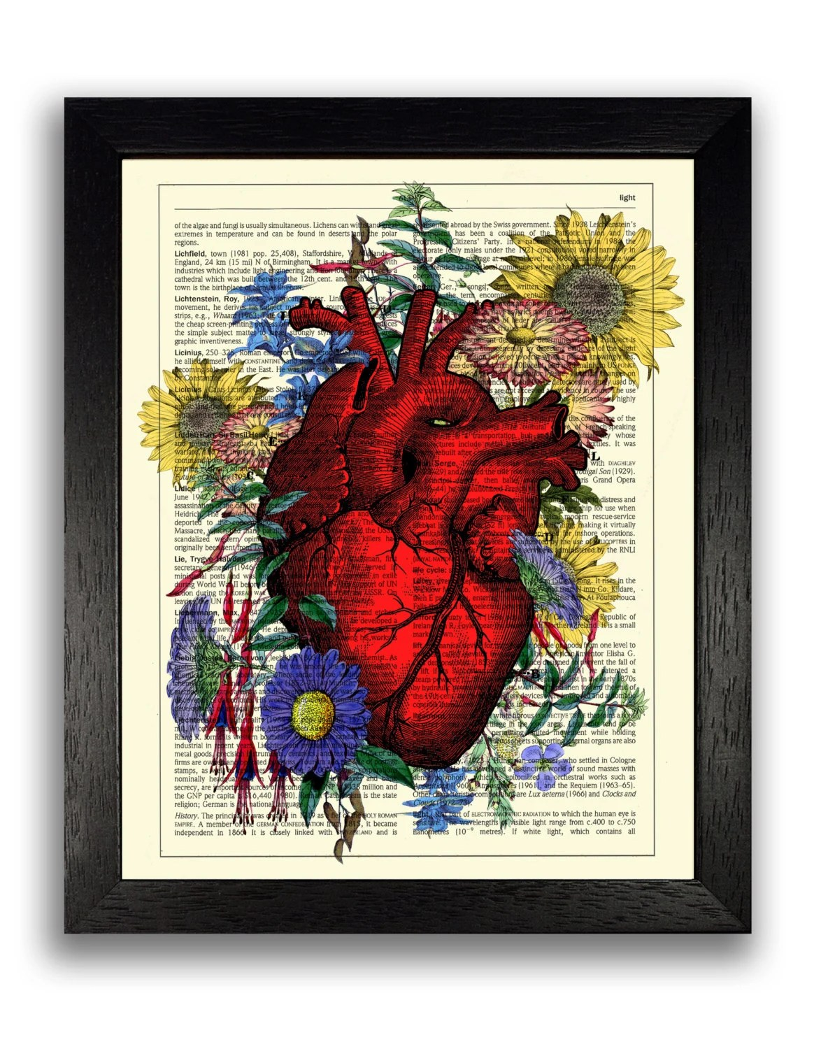 Heart Covered In Flowers Wall Art Print Anatomical Heart