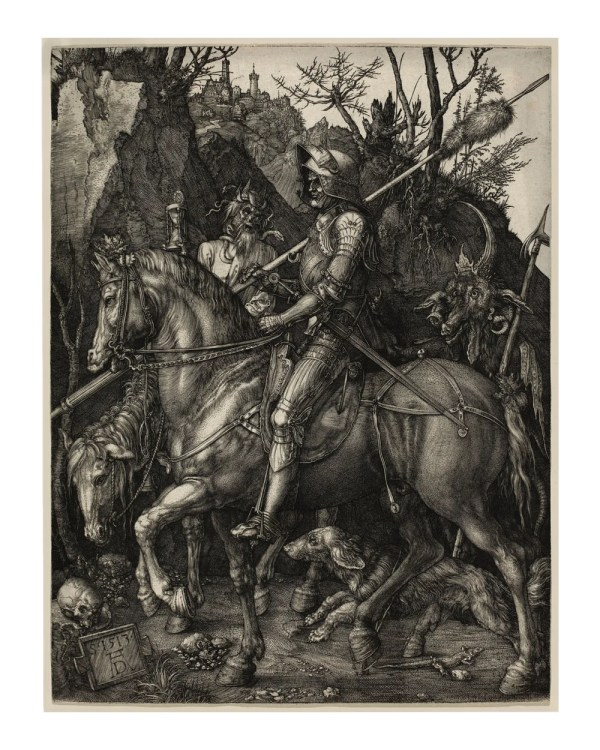 Rer' Knight Death And Devil - Religious Art Vintage Antique Wall Maps