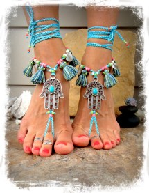 Blue Barefoot Sandals Toes