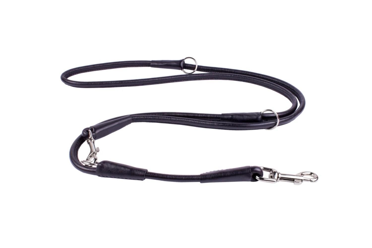 Multi Functional Dog Leash Glance Black Rolled Leather 4 5 6