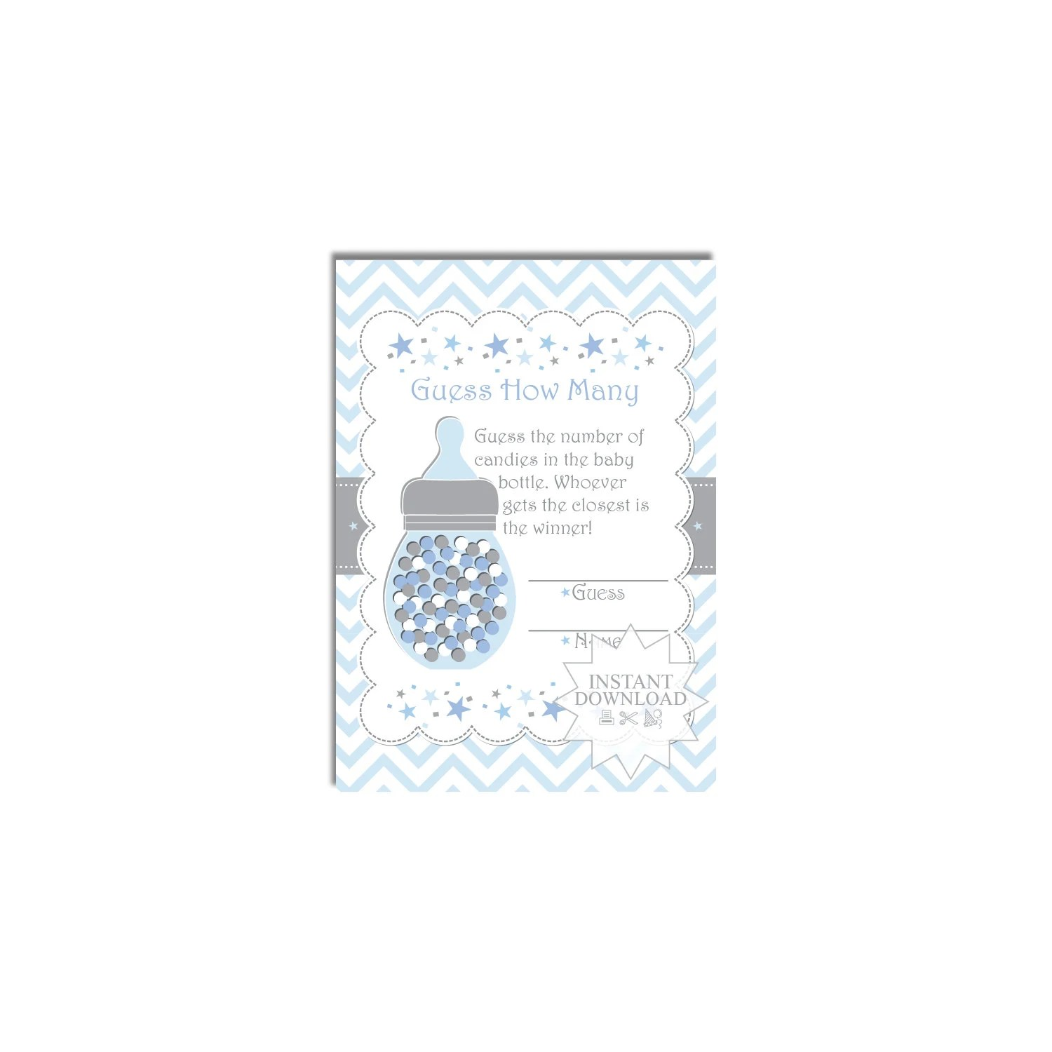 Confetti Baby Bottle Candy Guessing Game-Baby Shower Games-How