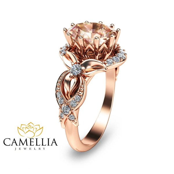 Unique Rose Gold Morganite Ring 14K Rose Gold Engagement Ring
