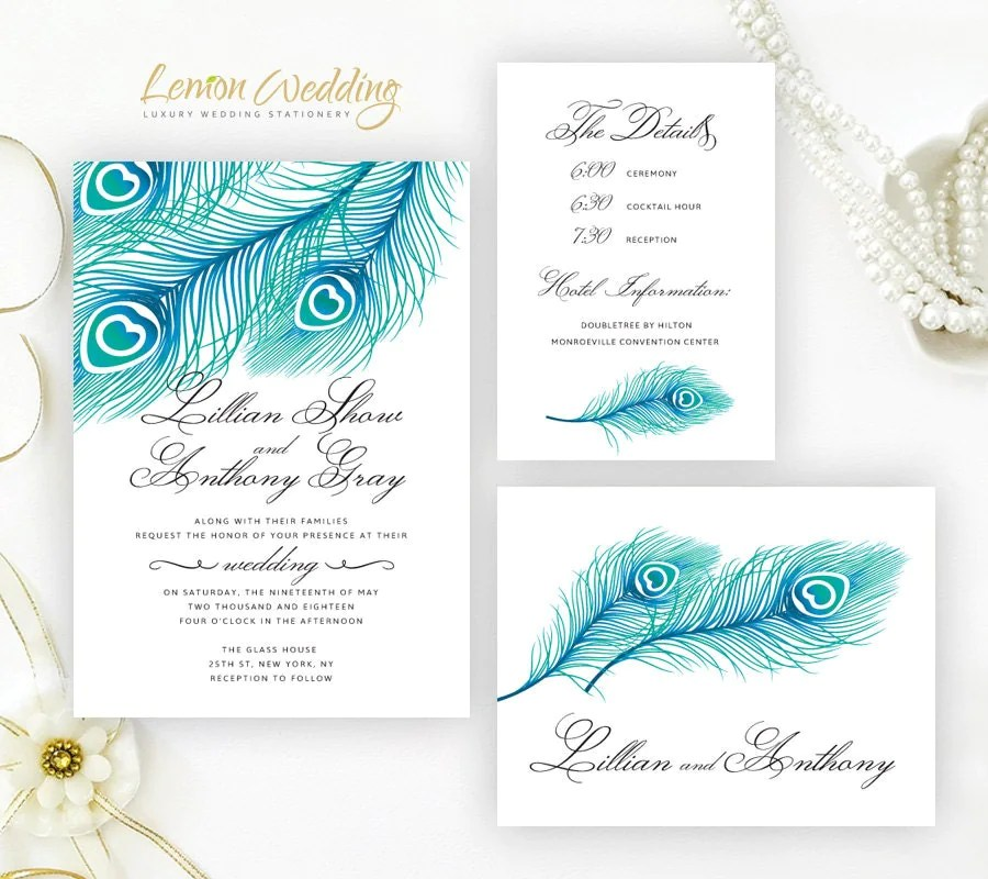 Blue peacock wedding Invitation kits printed on shimmer