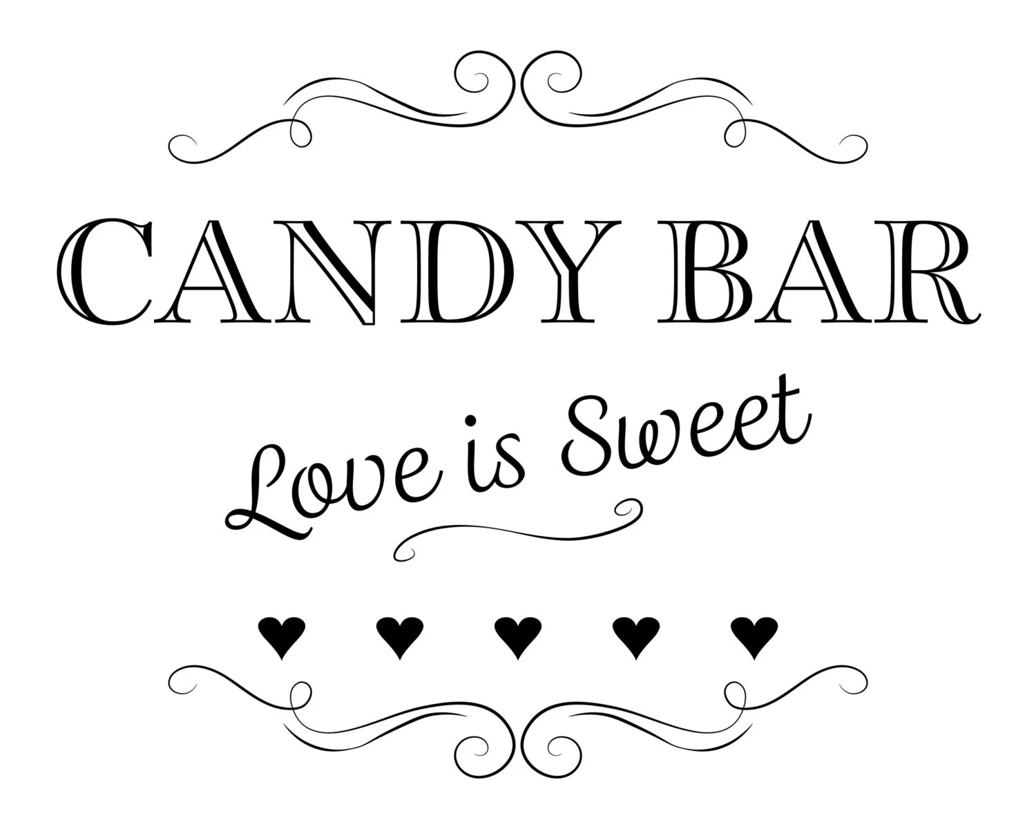 Printable Wedding Sign Candy Bar Love is Sweet Instant