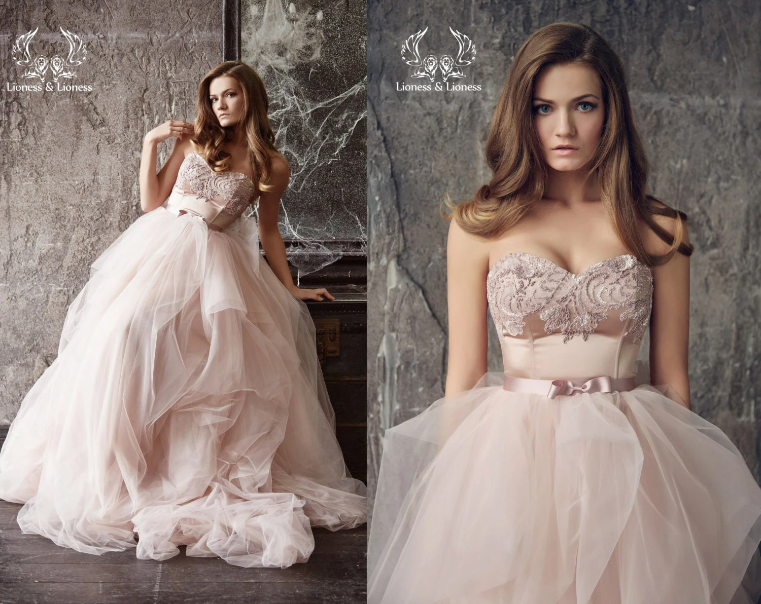 Wedding Dress. Blush Wedding Dress. Blush Bride Dress. Pink
