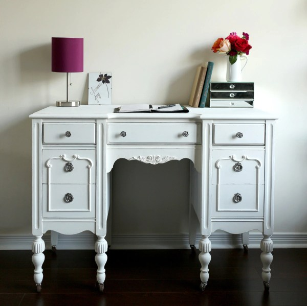 Antique Desk Vanity White Shabby Chic Restauredesign