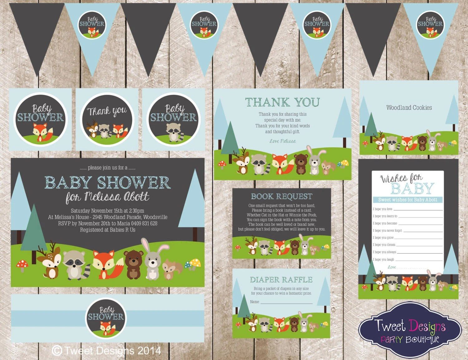 Woodland Animals Baby Shower Printable Instant Download