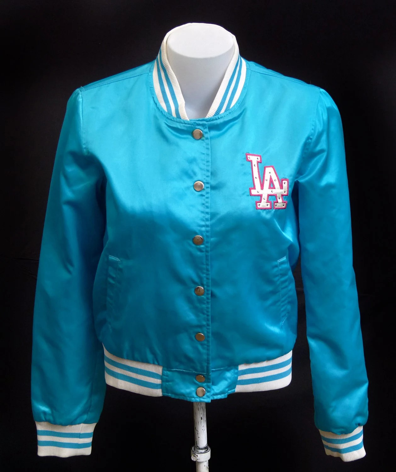los angeles dodgers jacket blue satin mlb womans clothing