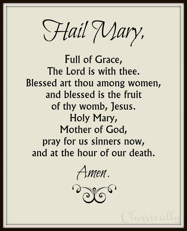 Hail Mary Prayer Printable Catholic Print Rosary Prayer
