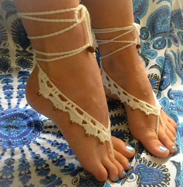 Crochet Beaded Barefoot Sandals. Boho Wedding. Beach