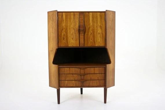 303-014 Danish Mid Century Modern Rosewood Corner Cabinet