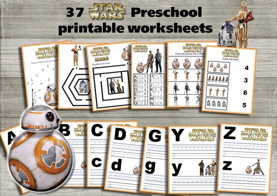 Star Wars Preschool Printable Worksheets Package The Force