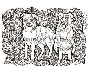 Australian Shepard Coloring Page Colouring Book Printable Hand