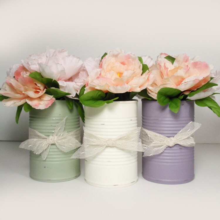 Brand New Trending Painted Tin Cans Wedding Centerpieces