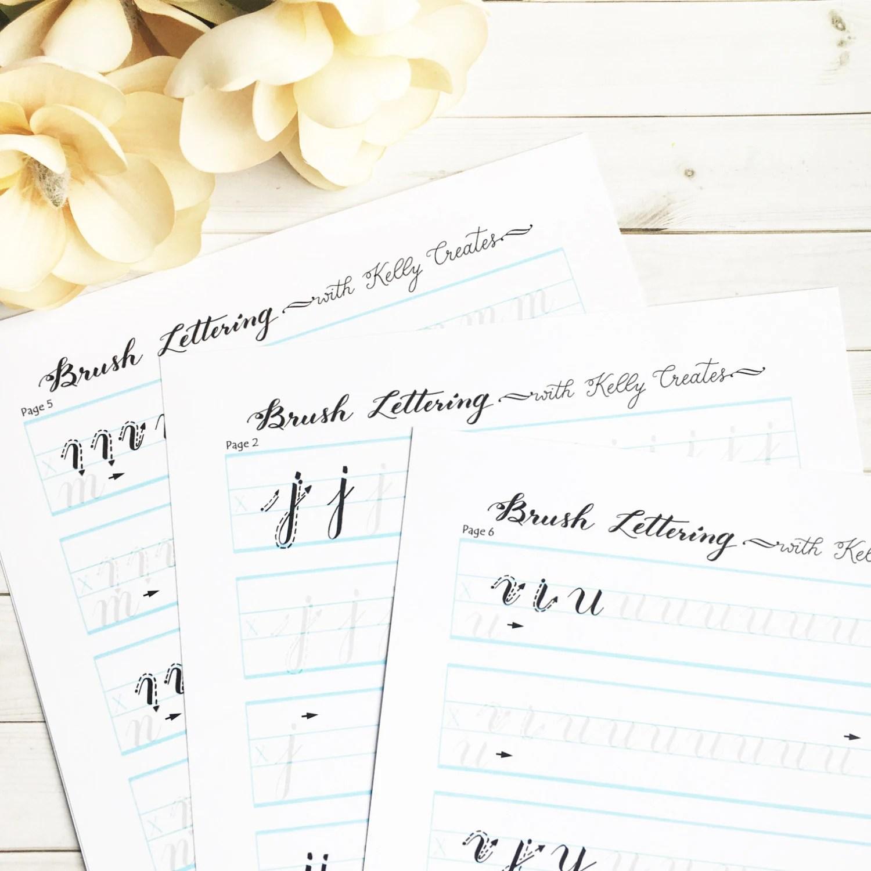 Brush Lettering Alphabet Practice Worksheets For Small Brush