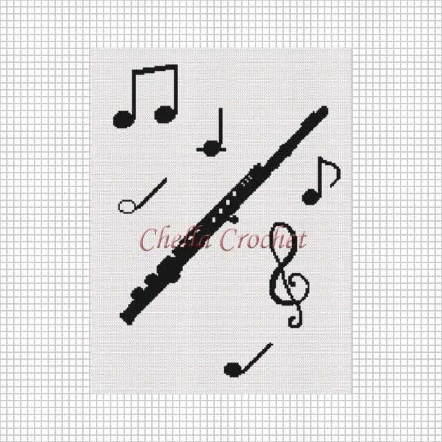 INSTANT DOWNLOAD Chella Crochet Flute Musical Notes Boys
