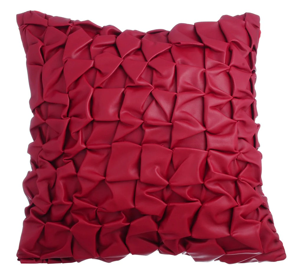 Red Leather Decorative Throw Pillow Covers Accent Pillow Couch
