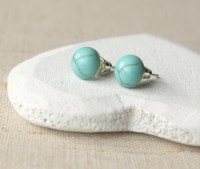 Turquoise Earrings Tiny Turquoise Stud Earrings STUD or CLIP