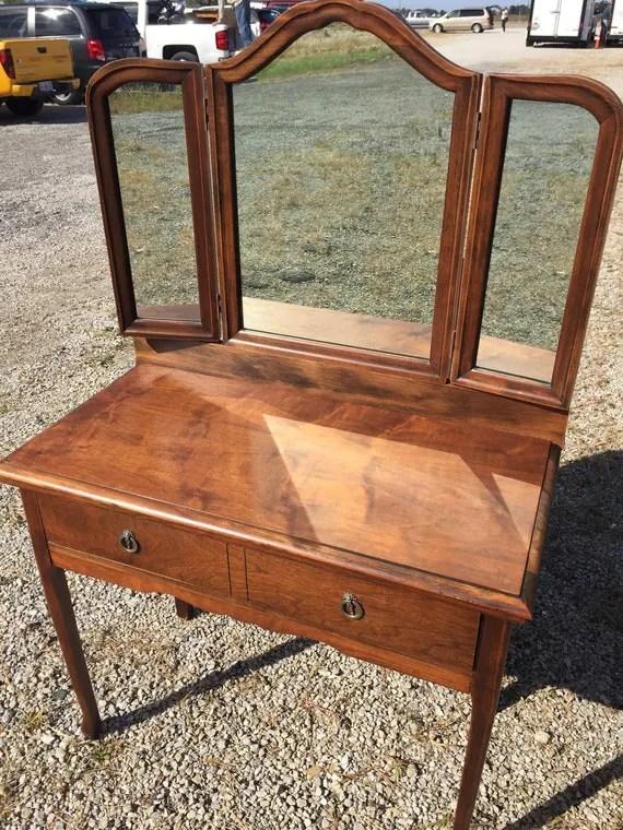 Antique Vanity Walnut Tri Fold Mirror 19d36w30h57h by