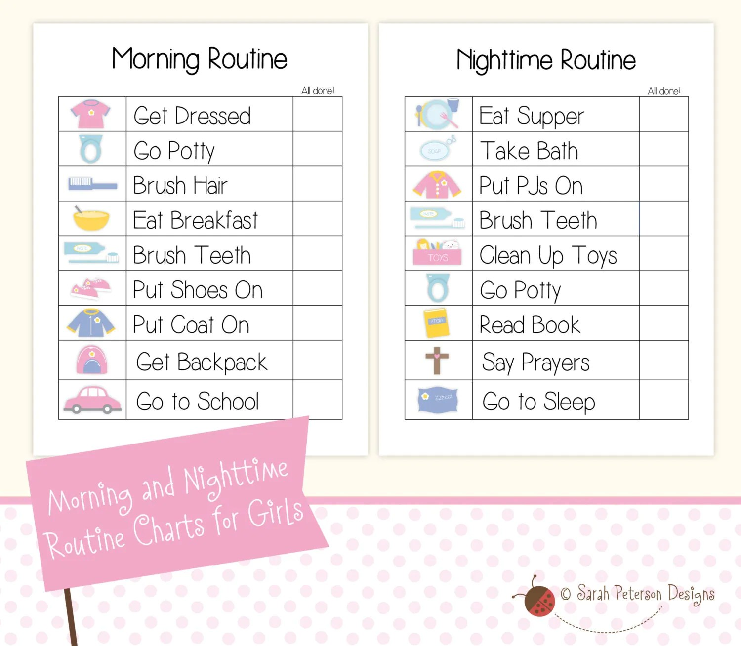 Instant Download Printable Morning And Nighttime Routine To