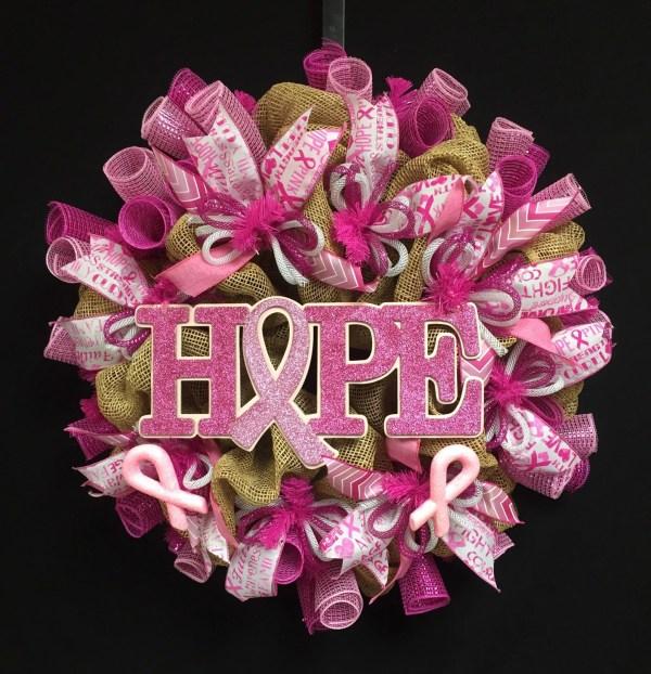 Breast Cancer Wreath Burlap Awareness Natural
