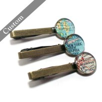 One Custom Vintage Map Tie Clip. You Select Location. Personalized Mens Gift Ideas. Wedding accessories. Travel Map Tie Bar