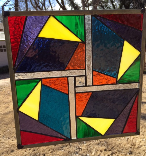 Contemporary Stained Glass Panel Geometric Plg015