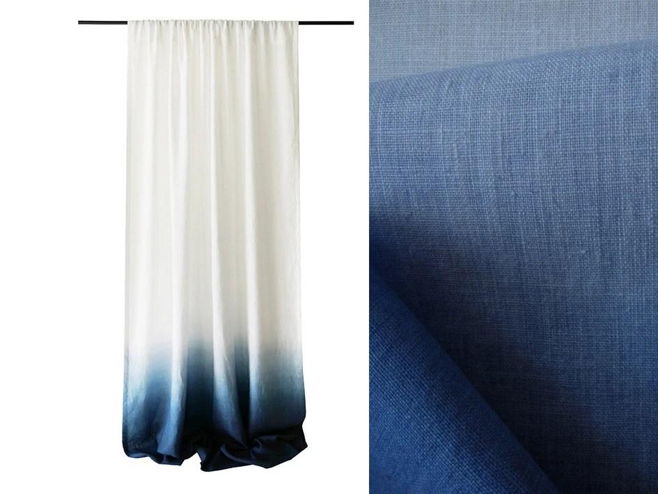 Ombre Curtains Blue Dip Dye Drape Rod Pocket By LovelyHomeIdea