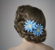 blue flower hair clips turquoise