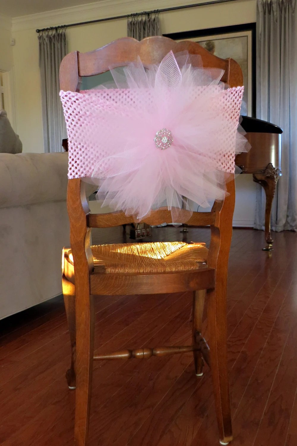 chairs wedding decoration patio club chair with ottoman tulle cover crochet elastic band for bridal