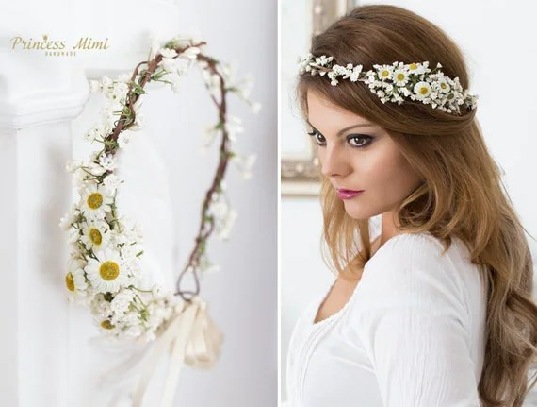 Braut Blumenkranz Haarkranz Hochzeit Haarband Blumen