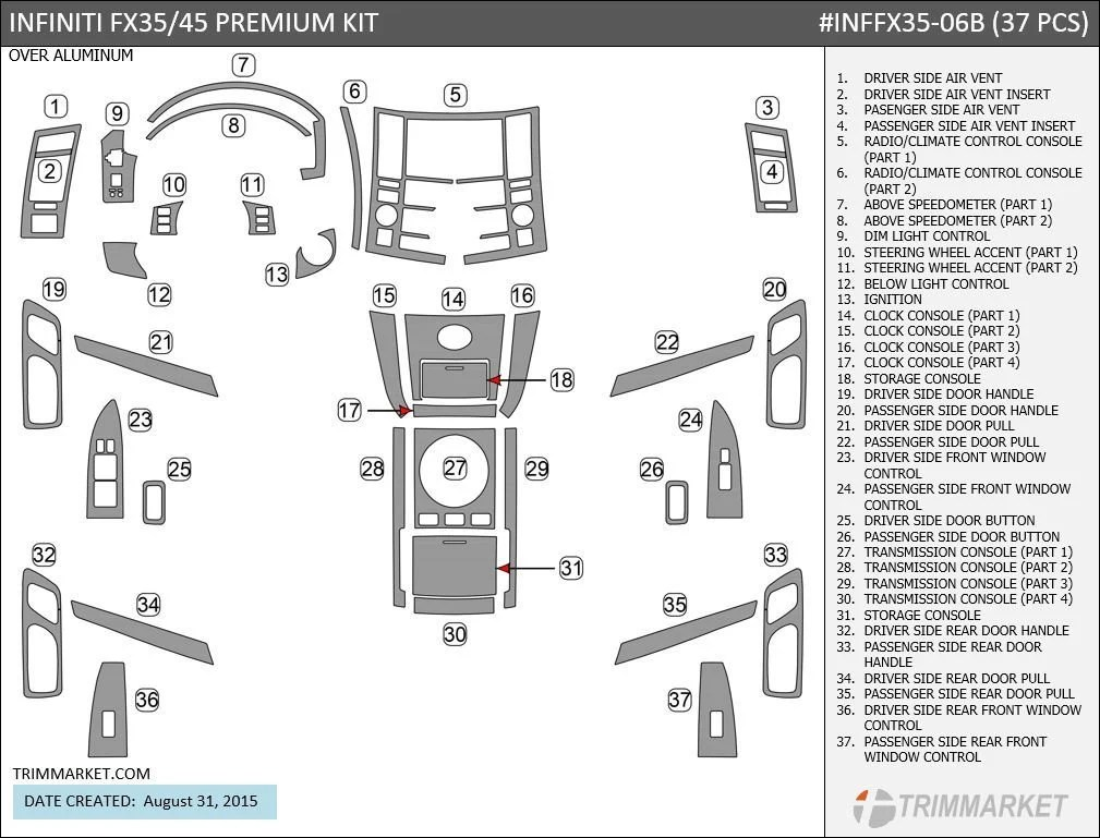 Infiniti FX35 FX45 2006 2007 2008 Any Color Premium Interior