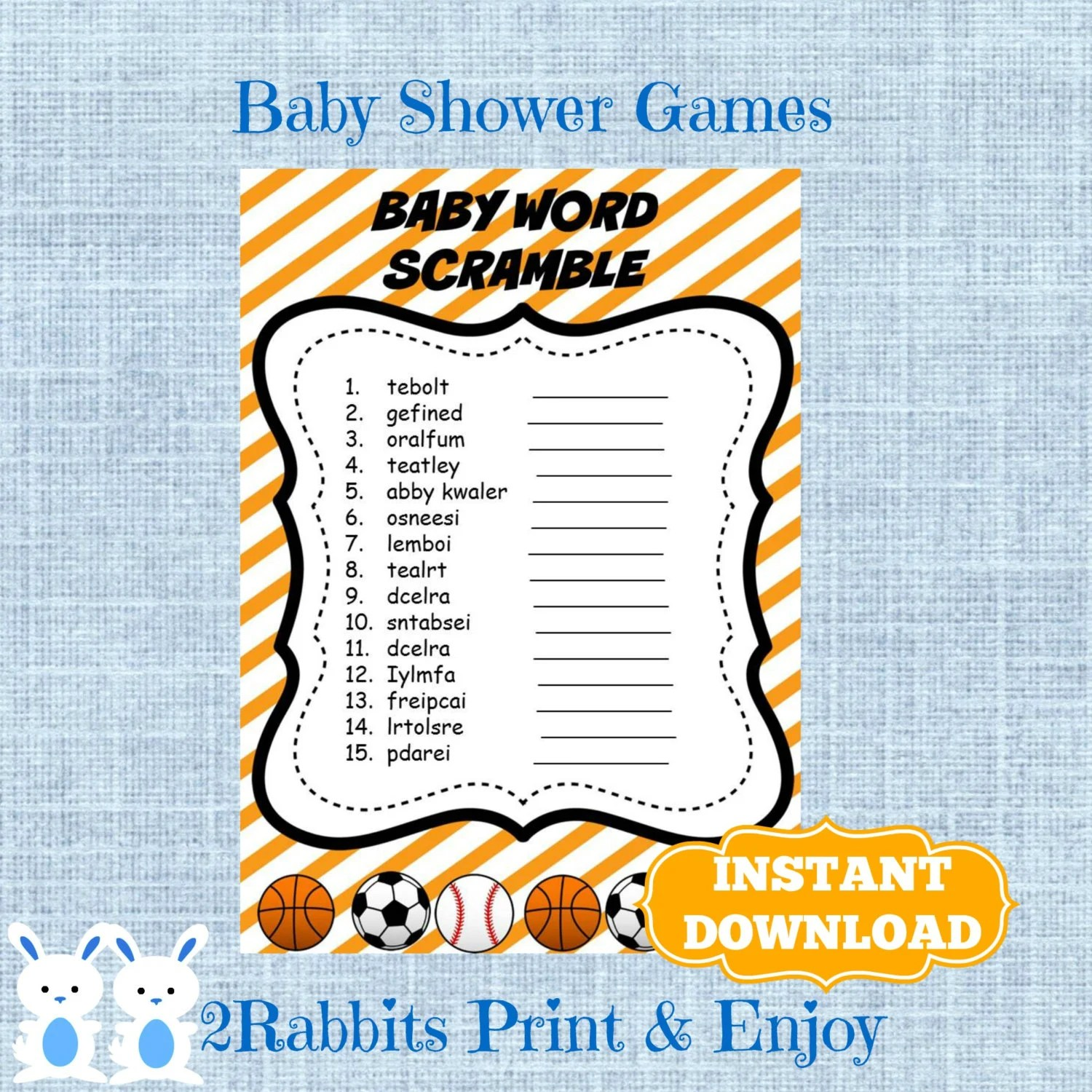 Sports Baby Shower Word Scramble With Answers Sports Shower