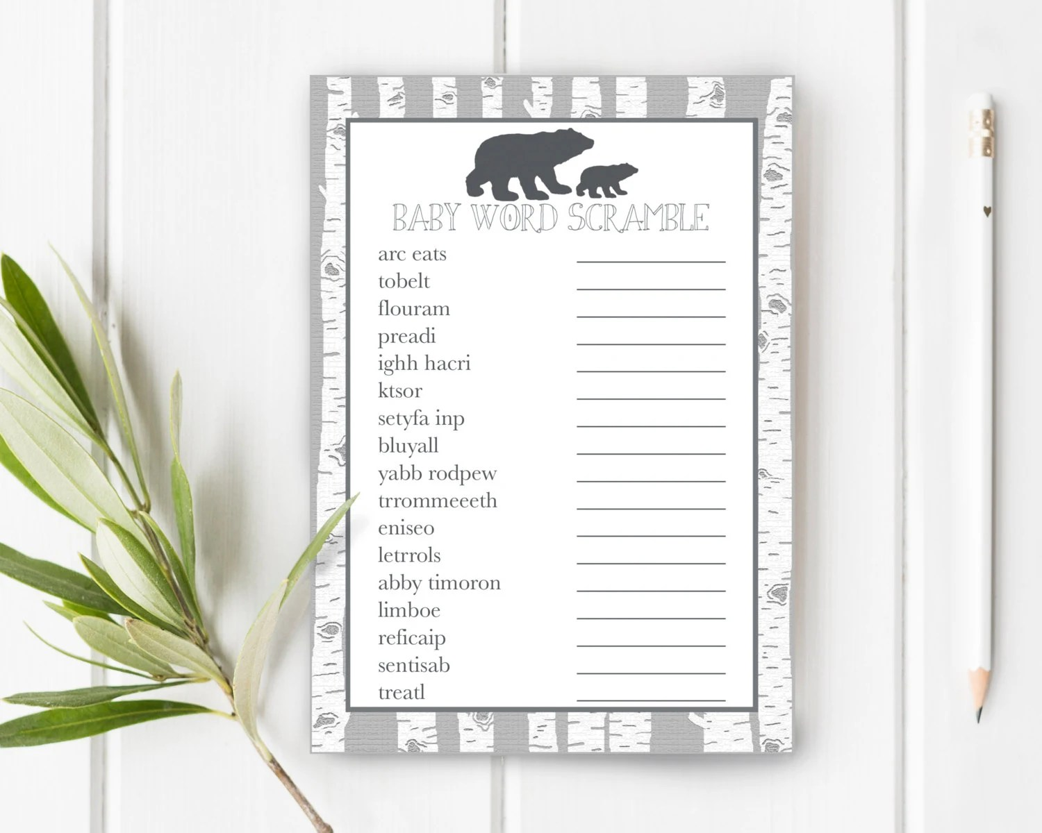 Baby Word Scramble Woodland Baby Shower Baby Shower Games