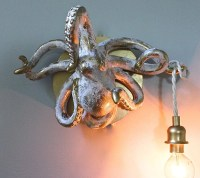 Octopus Wall Light Taxidermy Nautical Sconce Beach Cottage Sea