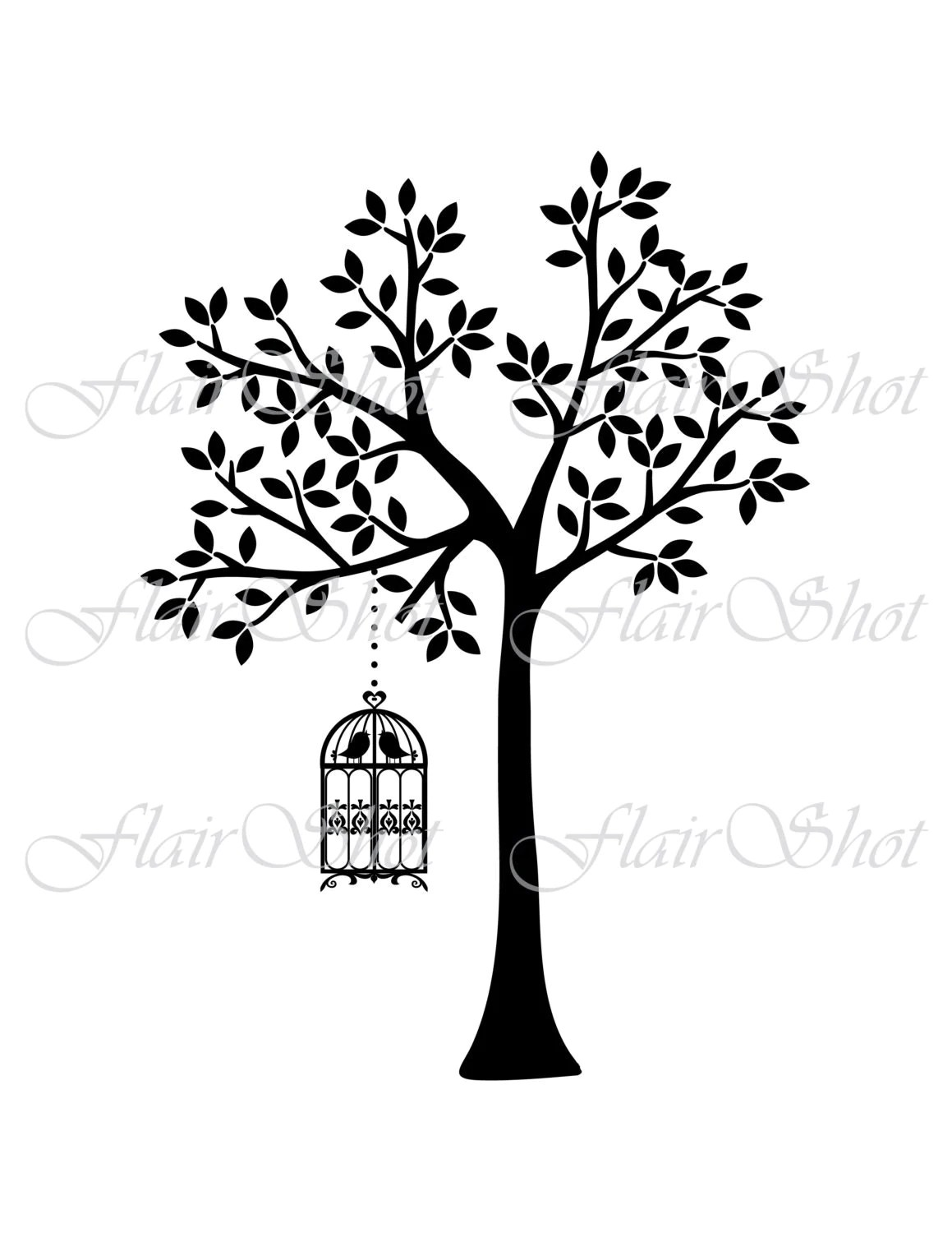 Digital Tree Clip Art Vector Tree And Bird Cage Clipart