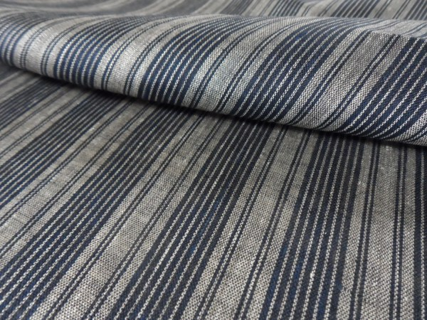 Striped Linen Fabric/ black natur / Lithuanian Linen / medium