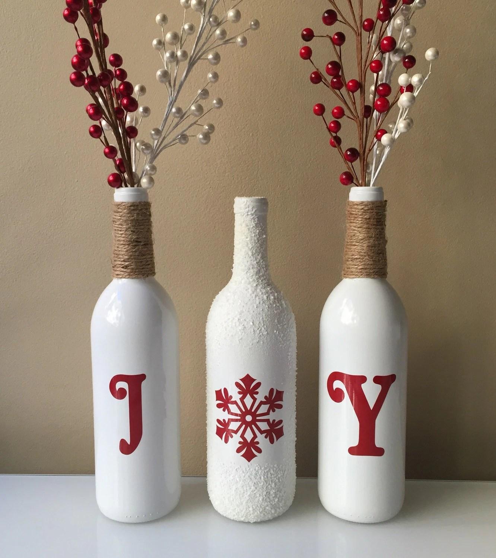 Joy Wine Bottles Christmas Decorations Snow Wine Bottles