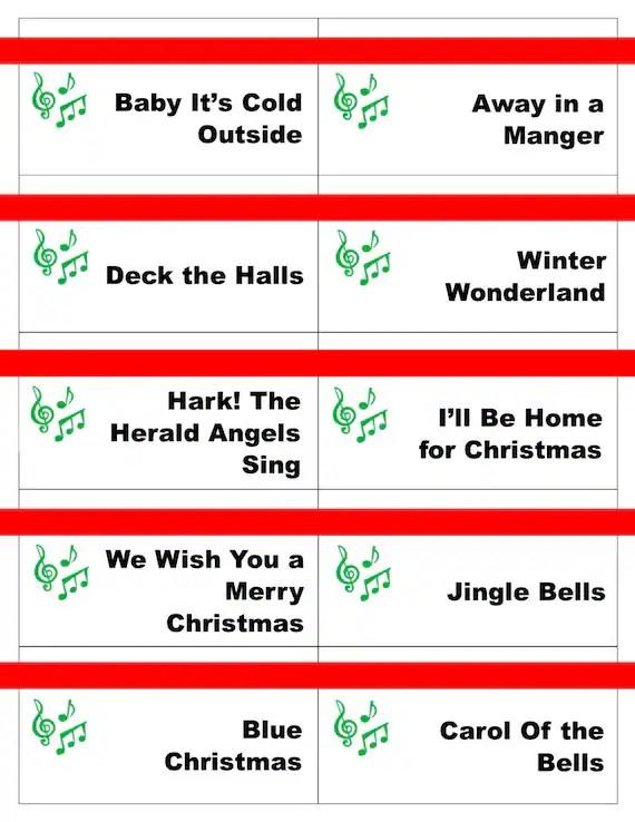 Printable Christmas Carol Game Cards For Pictionary Or