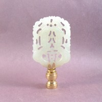 Green Jade Carved Lamp Finial. Flat Rectangle Asian Carved