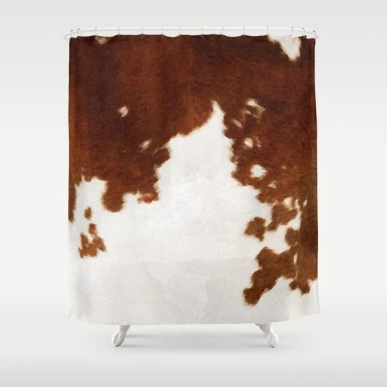 Cowhide Shower Curtain Cow Print Shower Curtain Country Shower