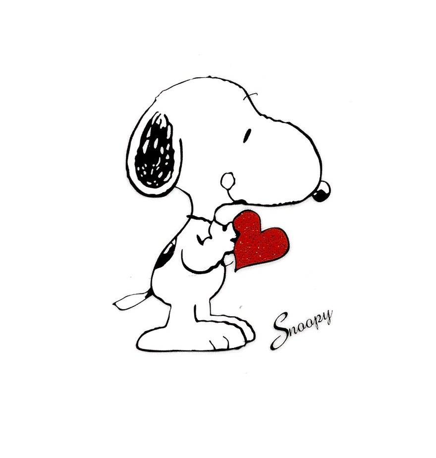 2.5 X 3 inch SNOOPY holding red heart love valentine Heat