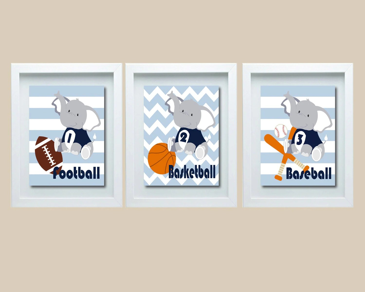 Sports Decor Sports Nursery Decor Elephant Nursery Wall Art