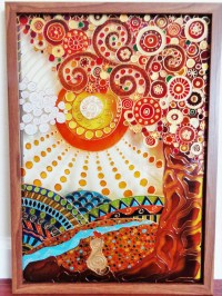 Tree of life 15x21 Glass painting Glass pannel